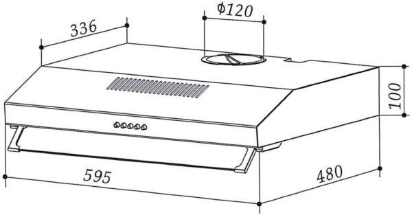Maße der Dunstabzugshaube UH01-60CS
